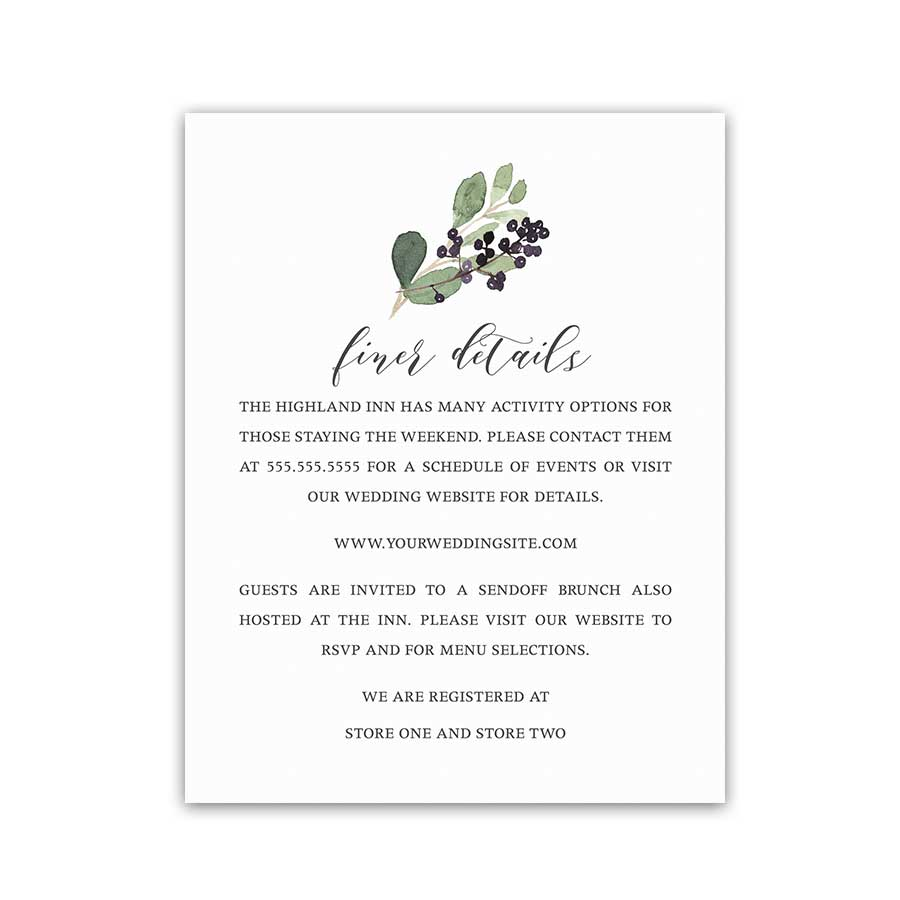 Vineyard Wedding Enclosure Details Card Greenery Wreath