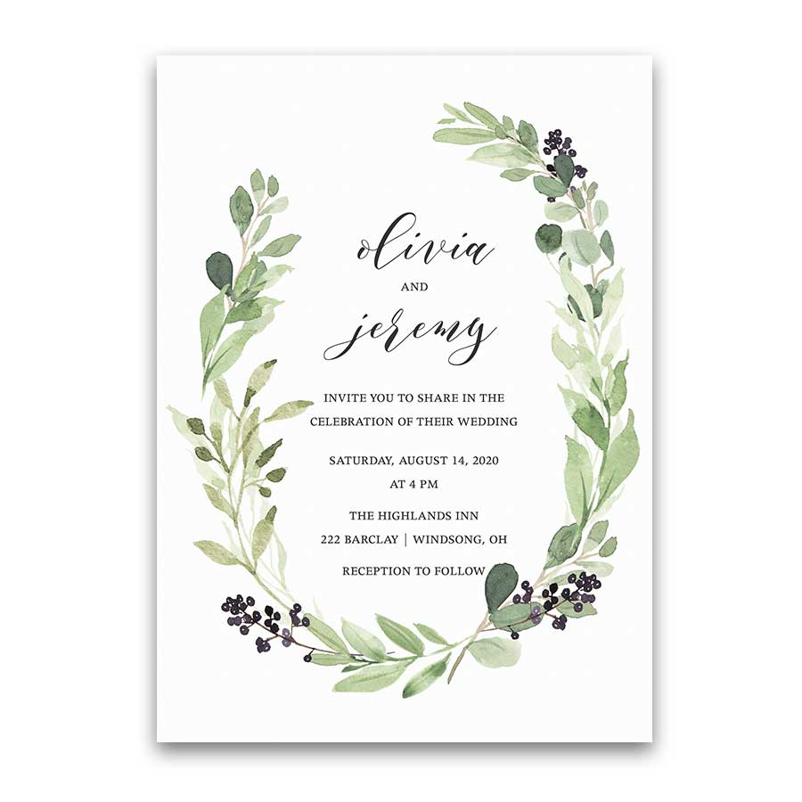 Vineyard Wedding Invitation Greenery Wreath Purple Wine Berry