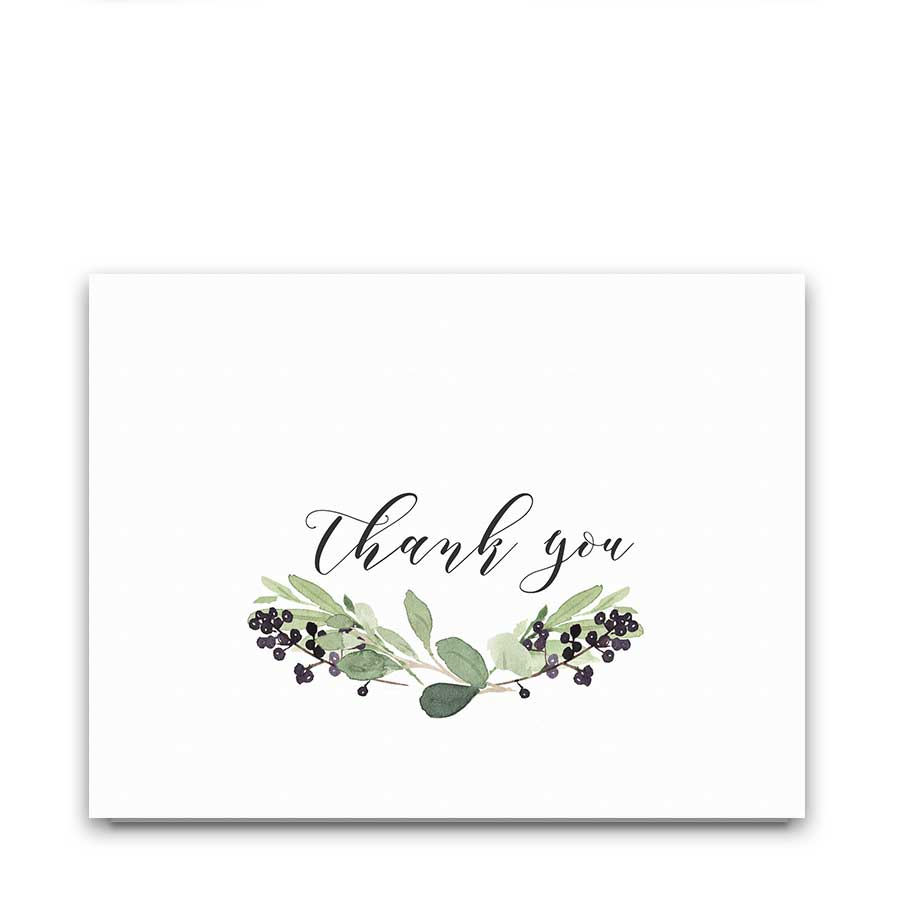 Greenery Wedding Thank You Card Purple Berry Watercolor