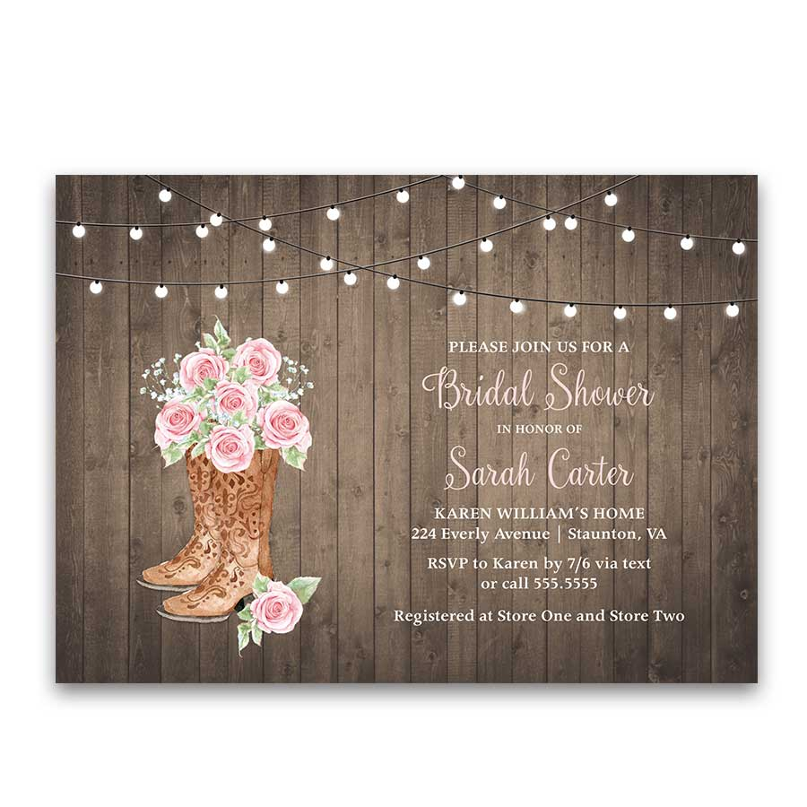 Rose of Texas Bridal Shower Invitation Cowgirl Boots Blush Roses