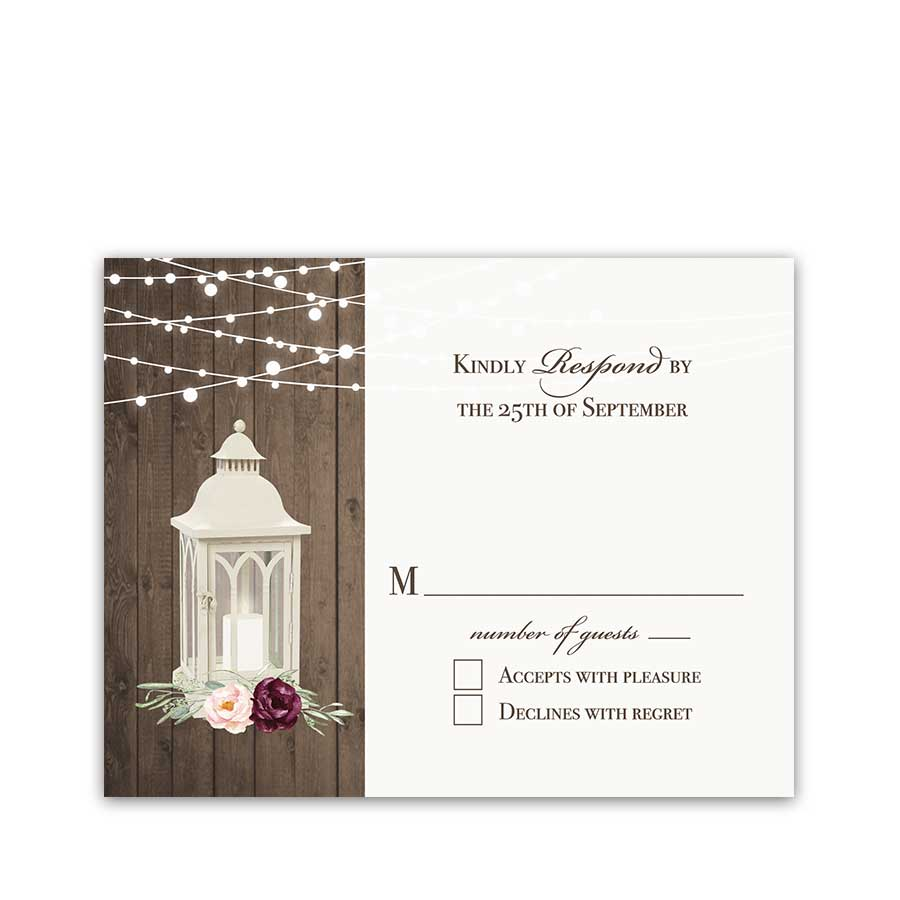 Lantern Wedding Reply Card RSVP Bohemian Plum Blush Floral