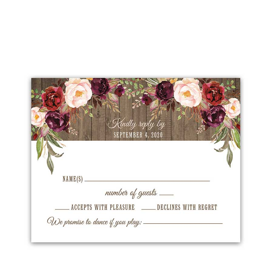 Cowgirl Boots Wedding RSVP Country Plum Blush Florals Lights