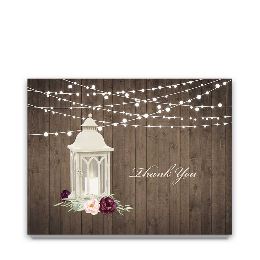 Wedding Thank You Cards Rustic Lantern with Florals Greenery