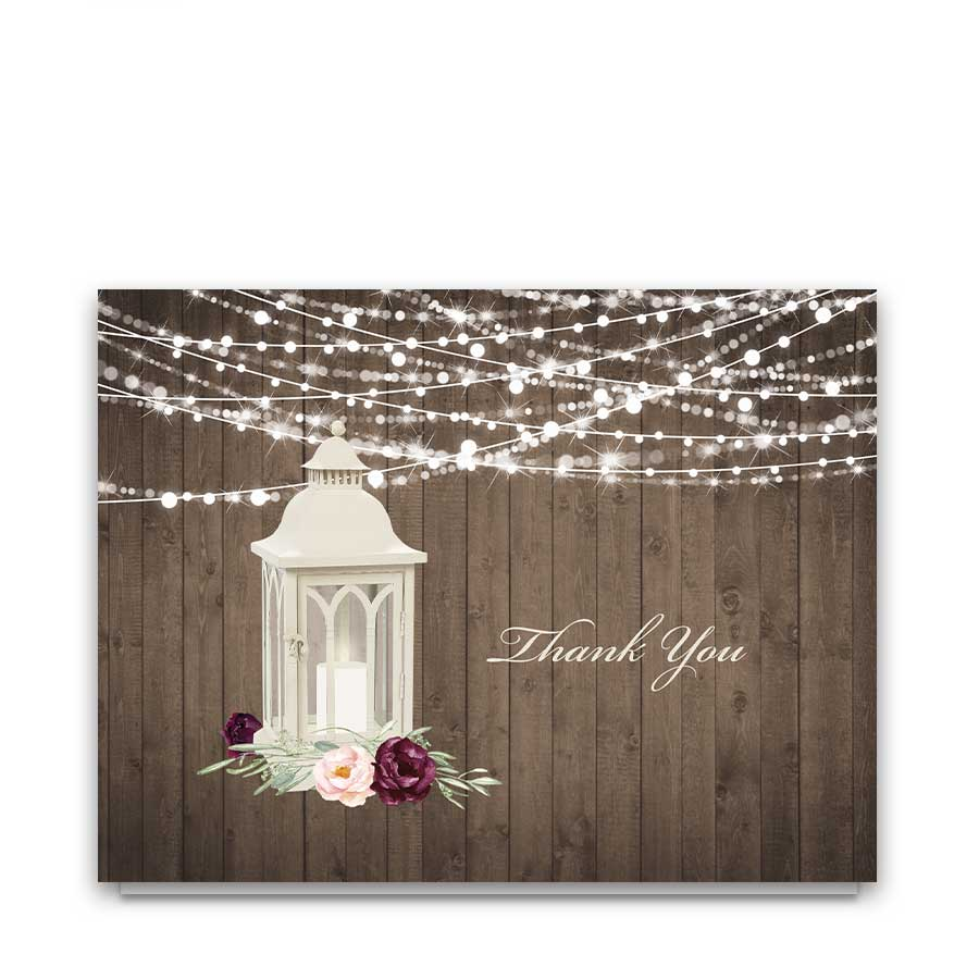 Wedding Thank You Cards Lantern with Plum Florals