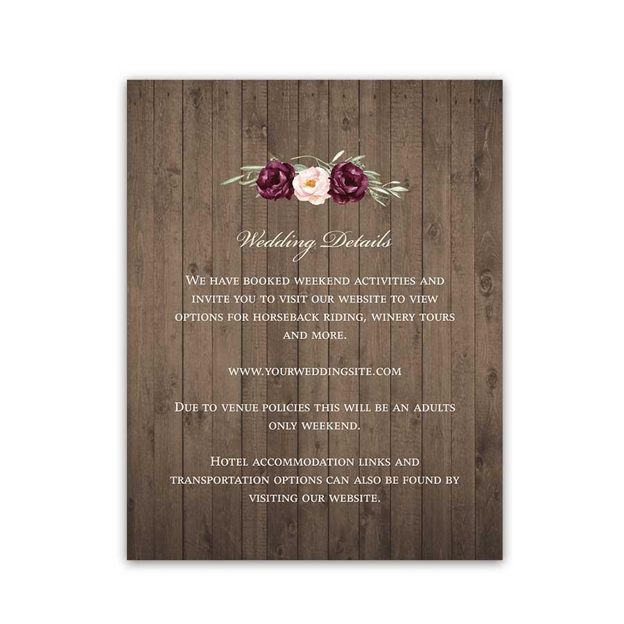 Lantern Wedding Details Card Bohemian Rustic Burgundy Floral