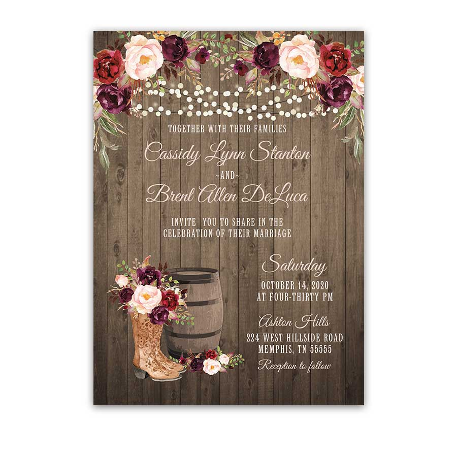 Western Wedding Invitation Cowgirl Boots Rustic Wine Blush Floral