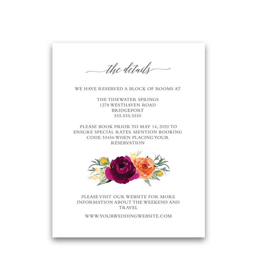 Orange and Purple Bright Floral Wedding Information Cards