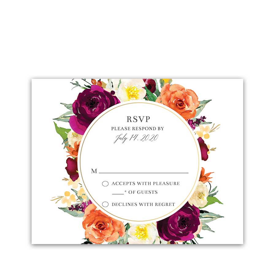 Orange and Purple Floral Wedding Reply Cards Bright Bouquet