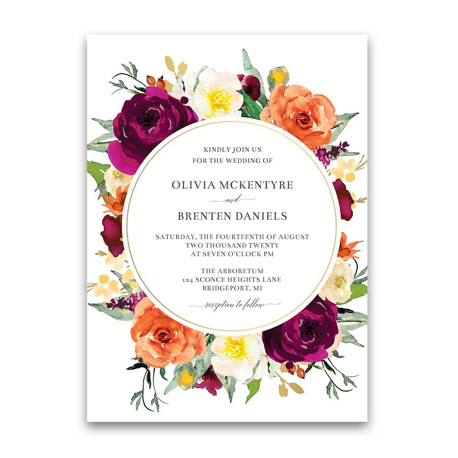 Orange and Purple Floral Wedding Invitations Bright Bouquet Flowers