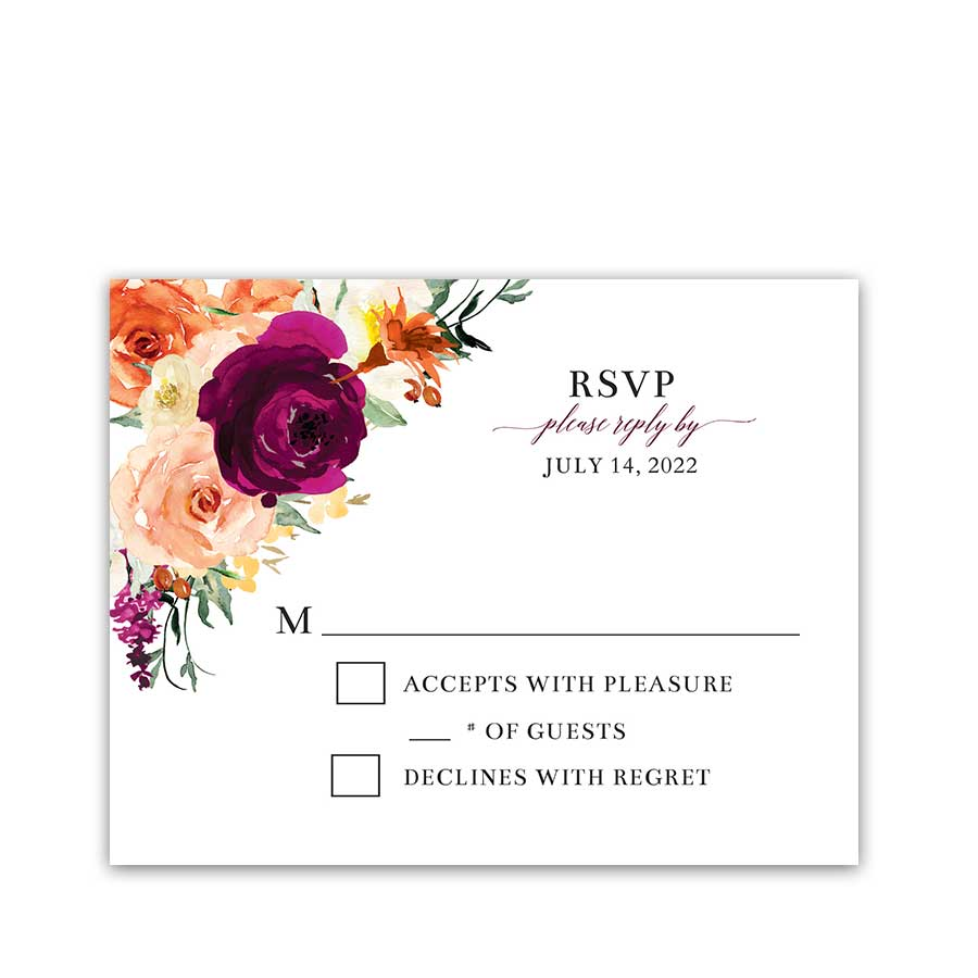 Fall Wedding Flowers RSVP Card Template Purple Orange Florals