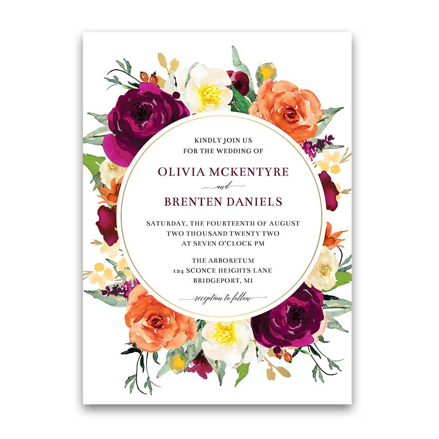 Fall Wedding Invitation Purple And Orange Floral Template Framed