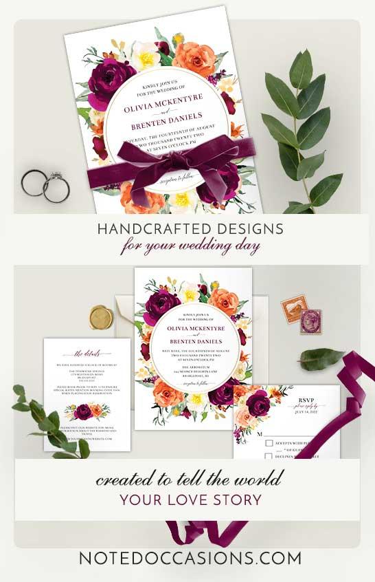 Fall Wedding Invitation Purple and Orange Floral Template