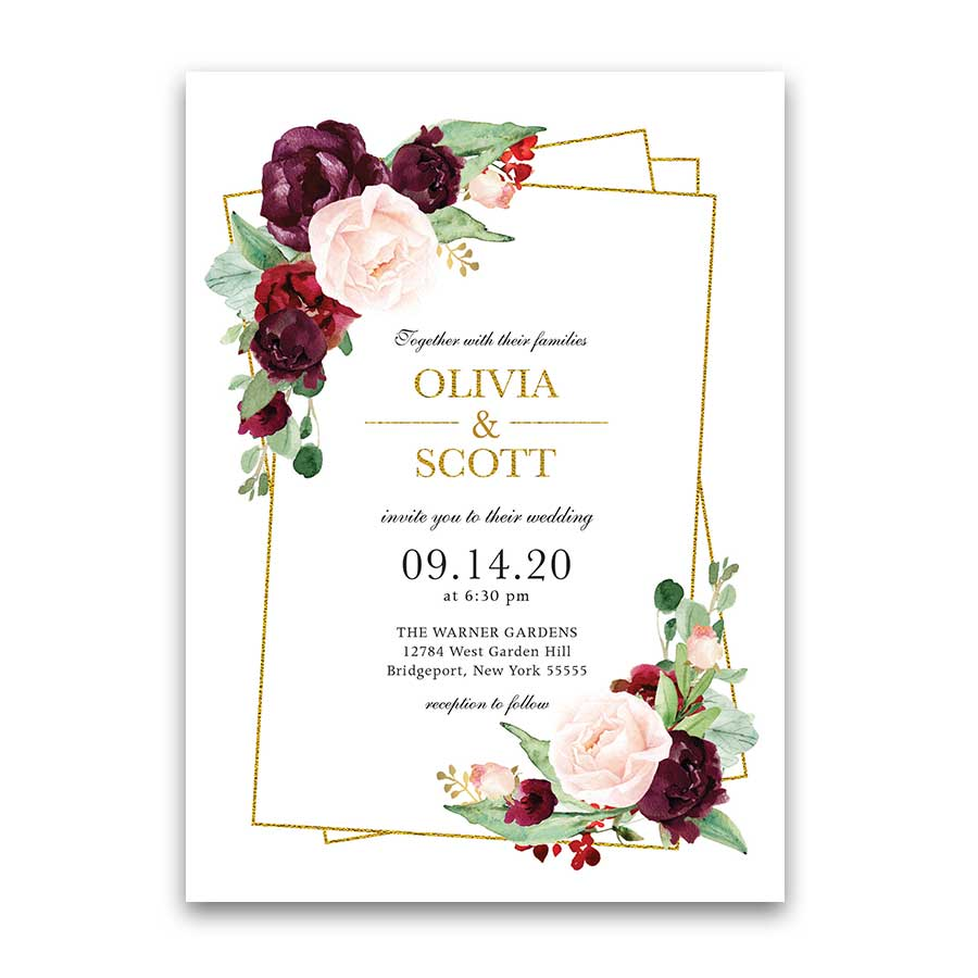 Geometric Wedding Invitation Set Plum Burgundy Blush Gold