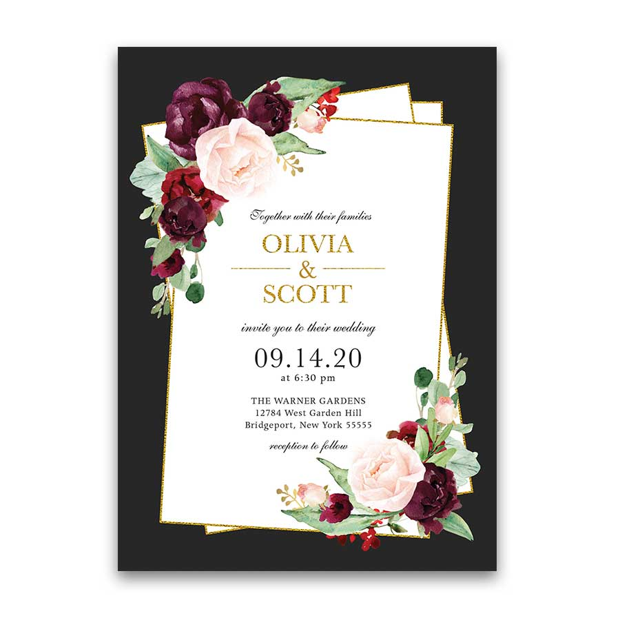 Plum Burgundy Fall Wedding Invitation Set Geometric Gold Frame