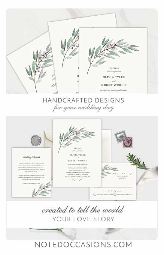 Greenery Wedding Invitation Template Watercolor Purple Berries