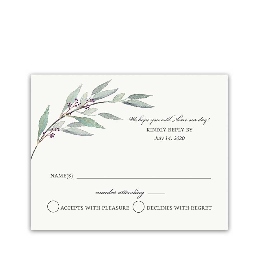 Greenery Wedding Invitation RSVP Greenery Wreath Purple Berries
