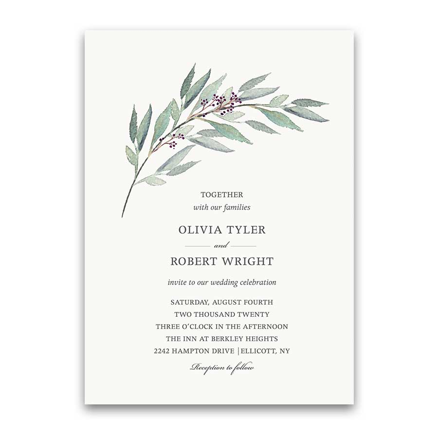 Greenery Wedding Invitation Set Greenery Wreath with Pale Berries