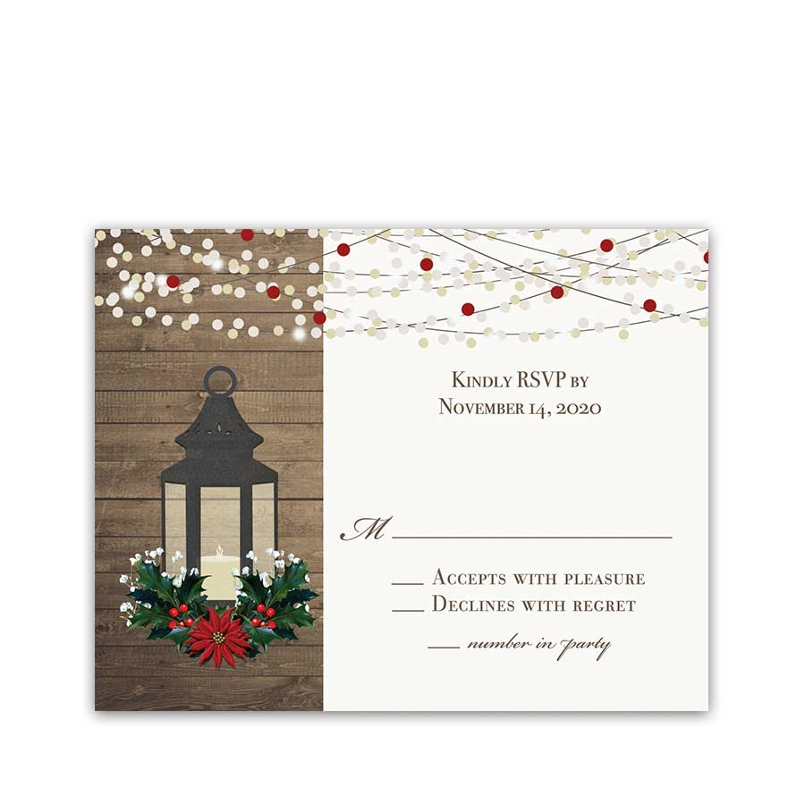 Winter Wedding RSVP Card Lantern with Holly Poinsettia Christmas
