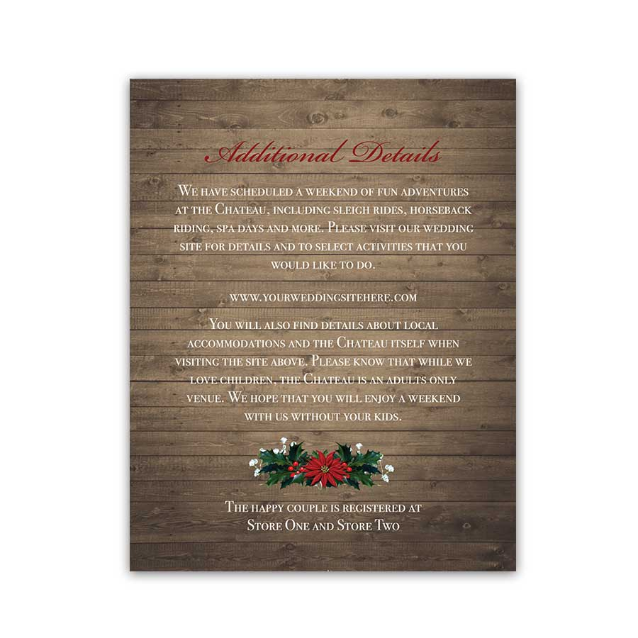 Lantern Wedding Details Card Winter Lantern Holly and Poinsettia