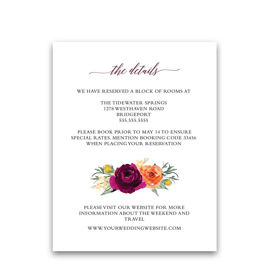 Orange and Purple Wedding Ideas Guest Detail Information Card
