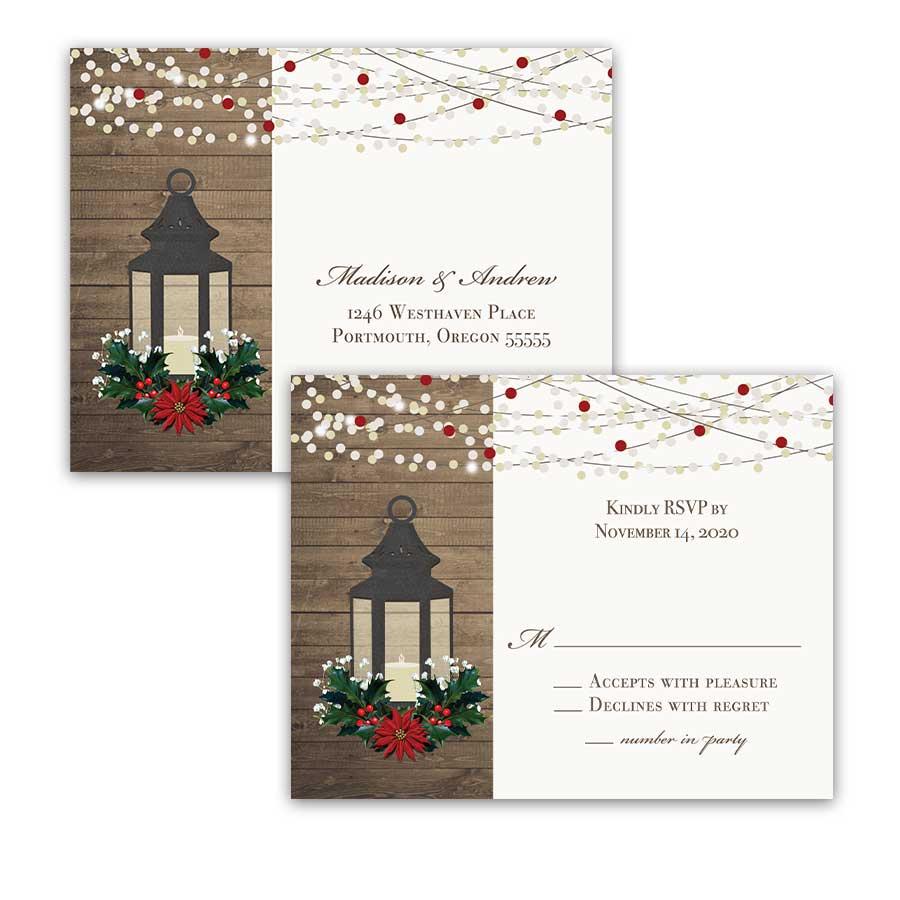 Winter Wedding RSVP Postcard Lantern with Holly Poinsettia Christmas.