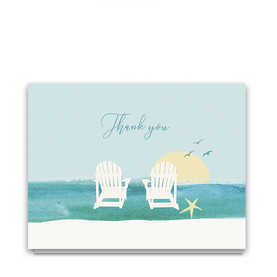 Wedding Thank You Cards Beach Theme Adirondack Chairs