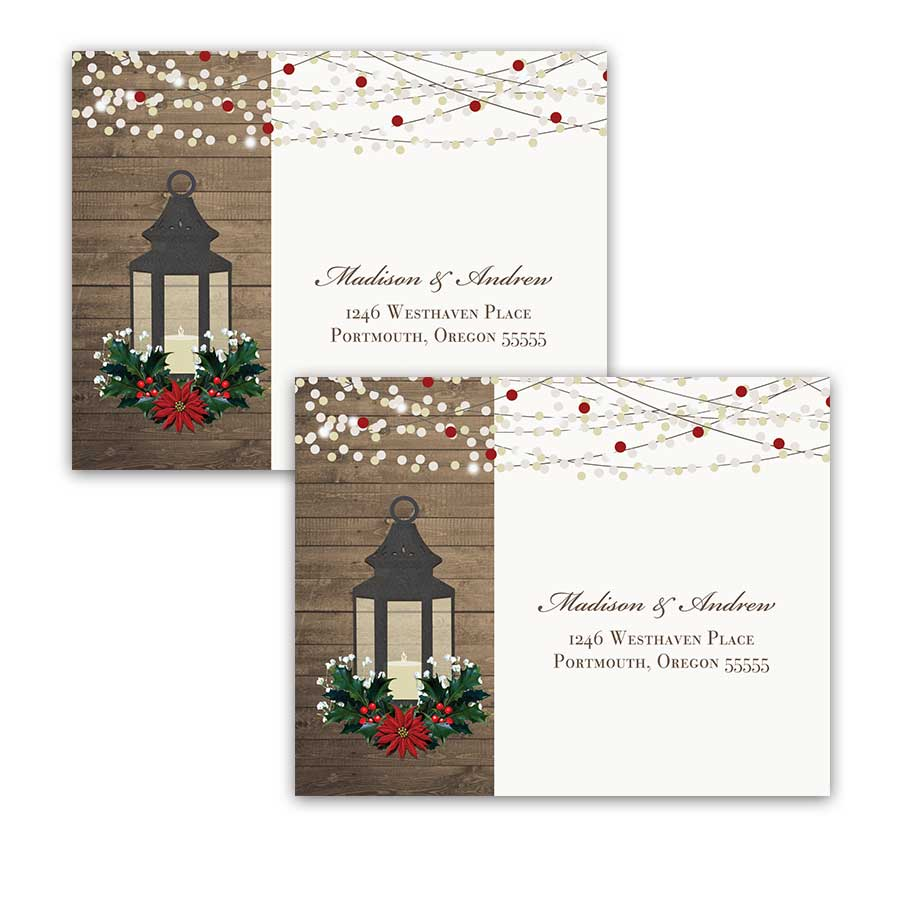 Winter Wedding RSVP Postcard Lantern with Holly Poinsettia Christmas