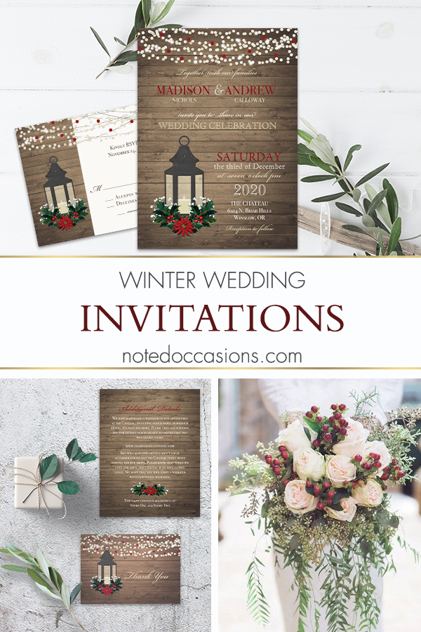 Winter Wedding Invitation Lantern with Holly and Poinsettia Christmas