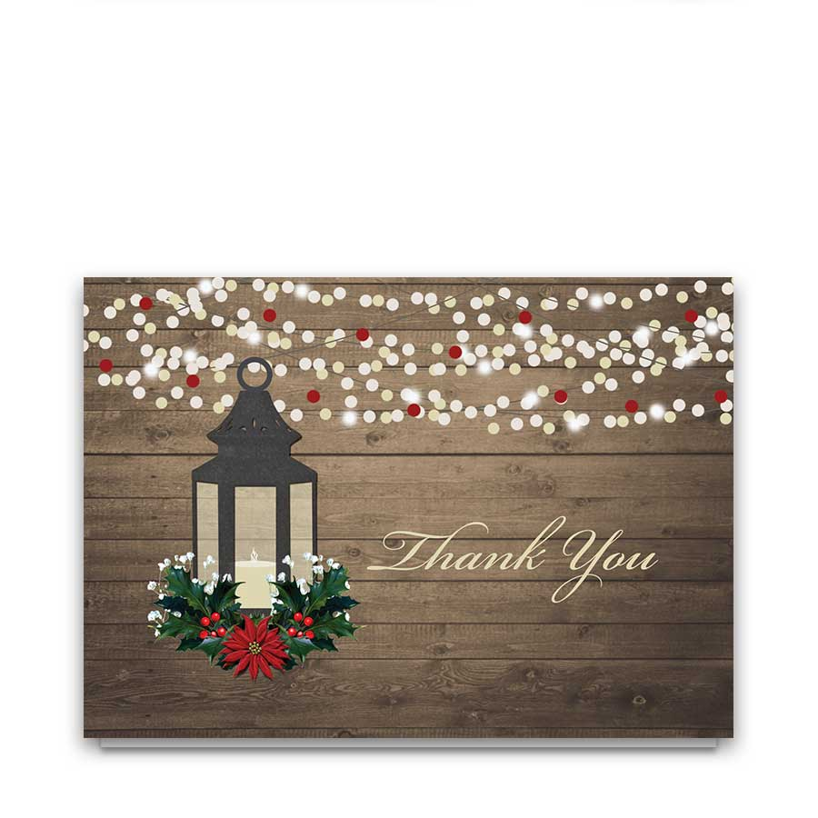 Winter Wedding Thank You Cards Rustic Lantern Holly Poinsettia
