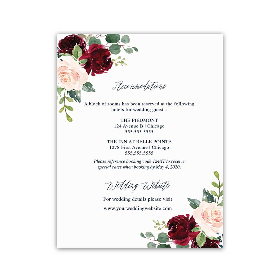 Floral Wedding Insert Cards Burgundy Navy Blue Greenery