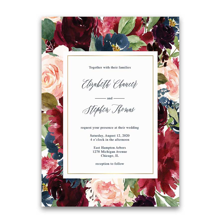 Floral Wedding Invitation Burgundy Purple Navy Blue Greenery