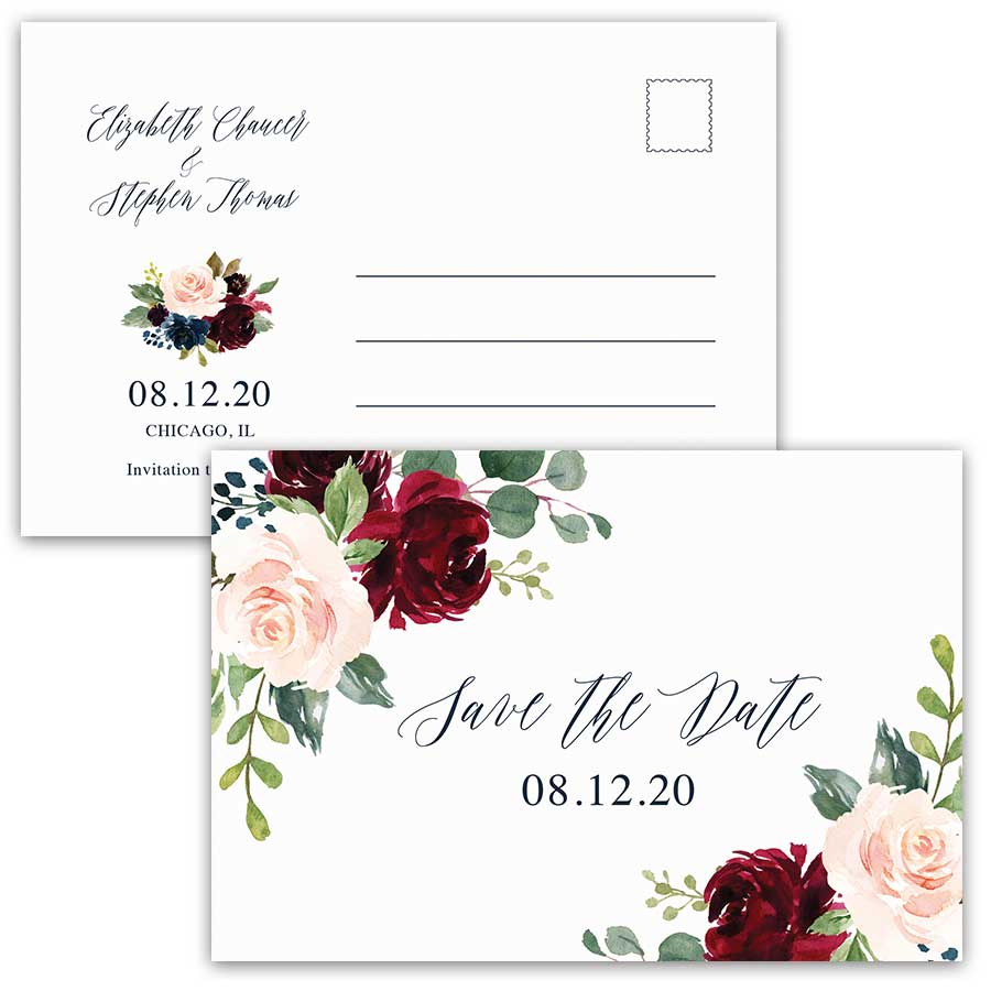 Wedding Save the Date Postcard Floral Burgundy Navy Greenery