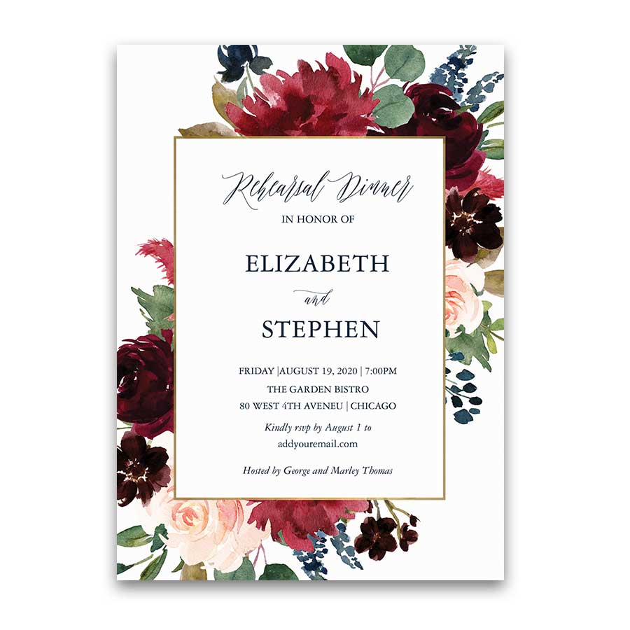 Rehearsal Dinner Invitations Gold Burgundy Navy Blue Floral