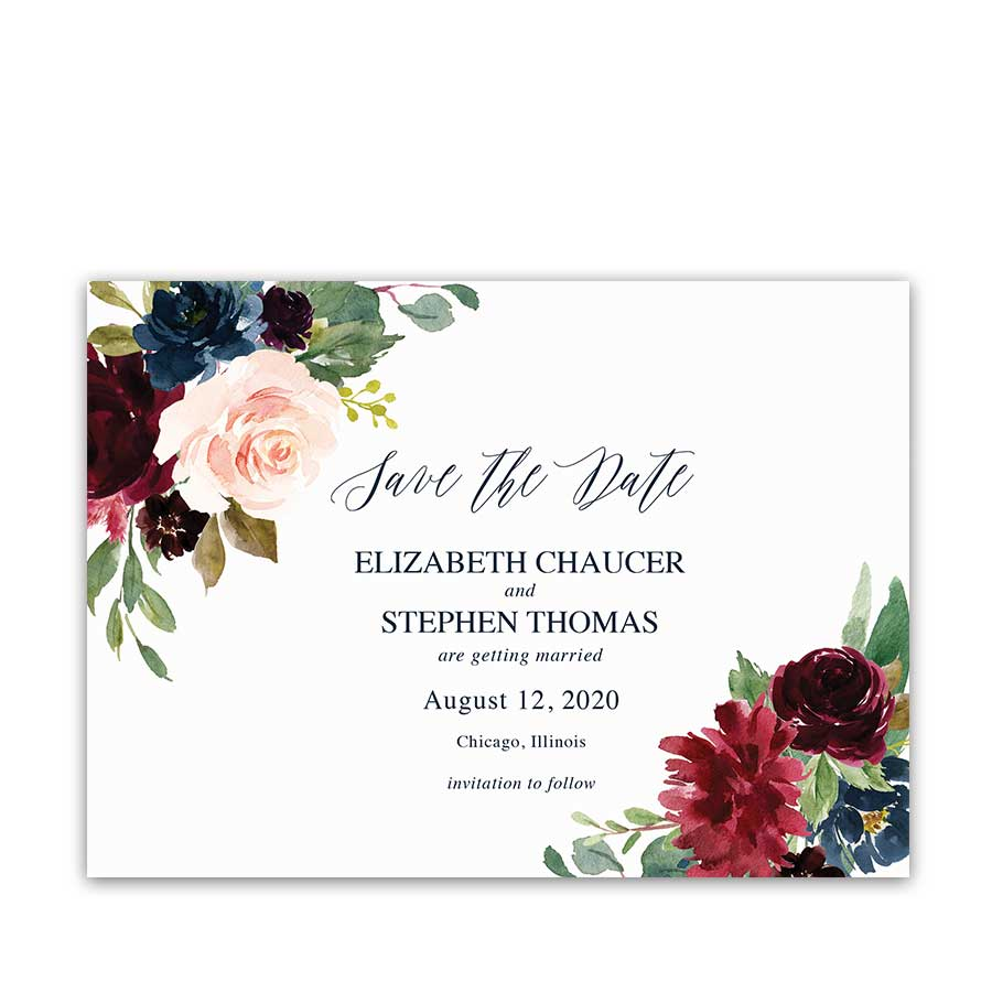 Wedding Save the Date Cards Floral Burgundy Navy Blue Greenery