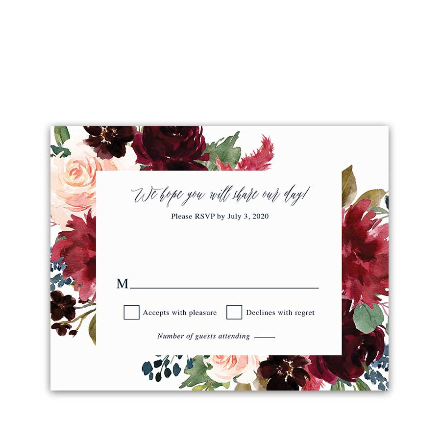 Floral Wedding RSVP Cards Plum Burgundy Floral Greenery