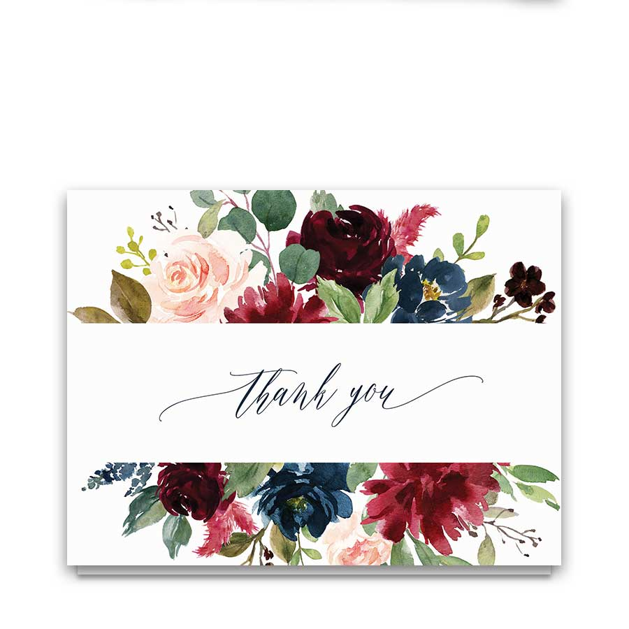 Elegant Floral Wedding Thank You Card Plum Watercolor Greenery