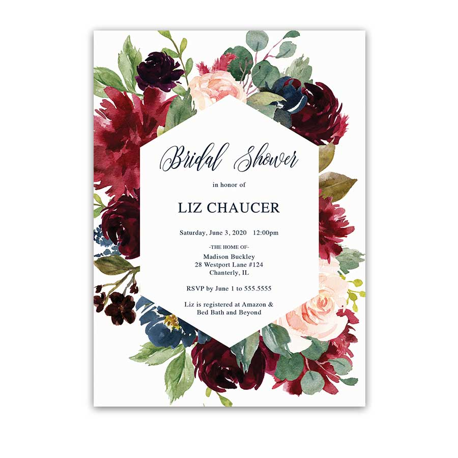 Geometric Bridal Shower Invitation Floral Burgundy Blush Navy