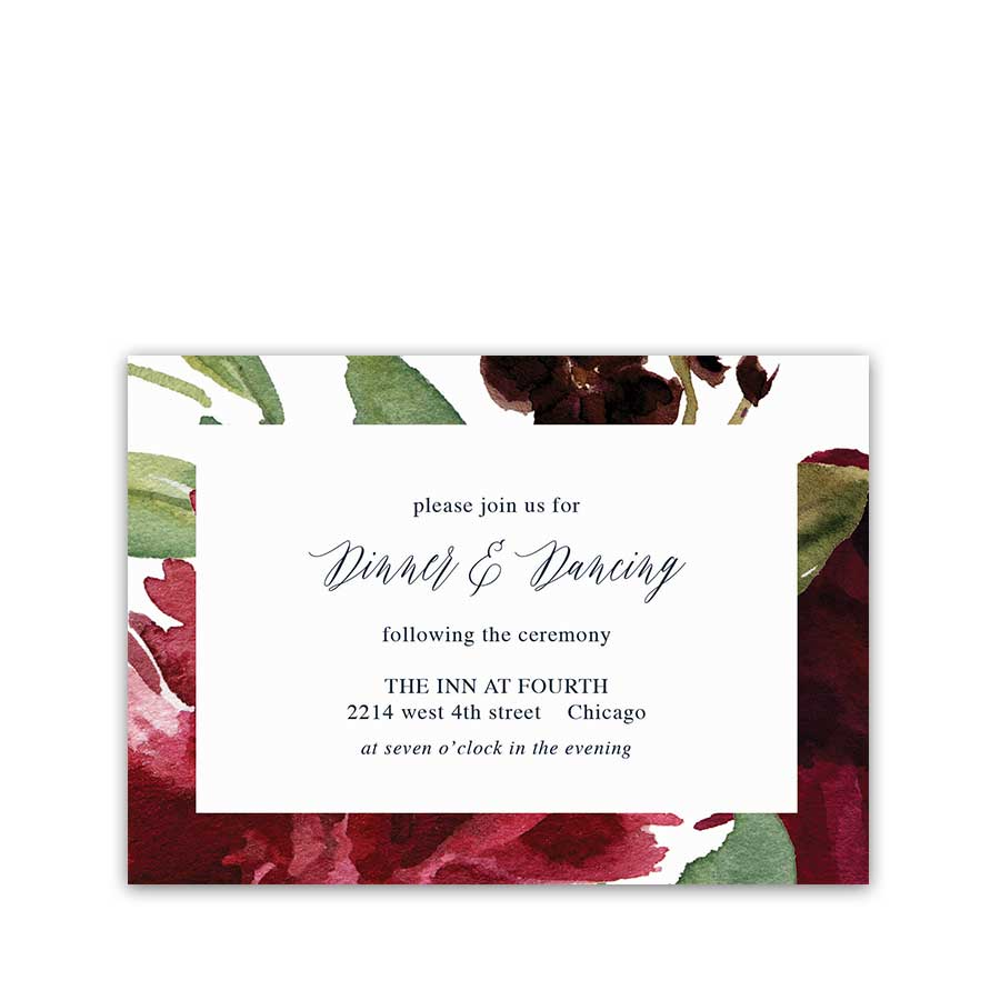 Wedding Reception Details Card Floral Plum Purple Navy Greenery