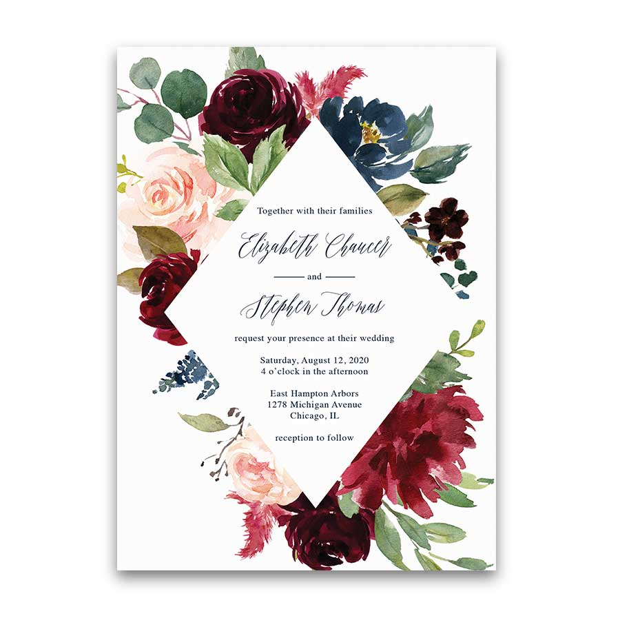 Floral Wedding Invitation Burgundy Purple Navy Blue Eucalyptus