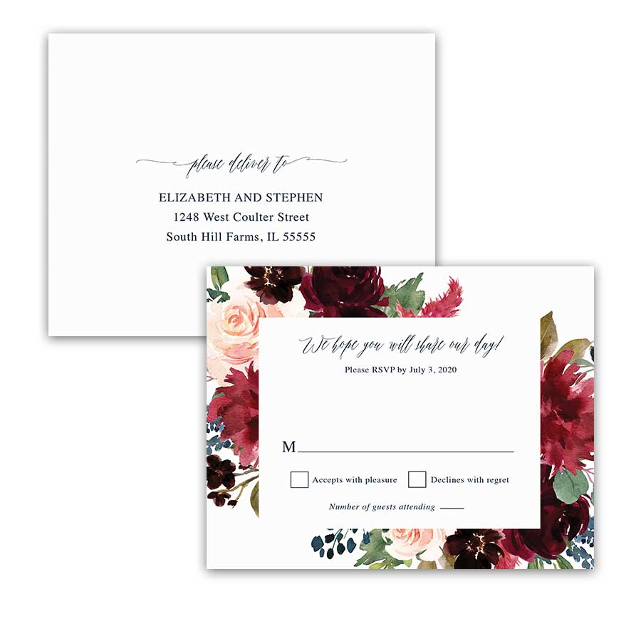 Floral Wedding RSVP Postcard Plum Burgundy Floral Greenery