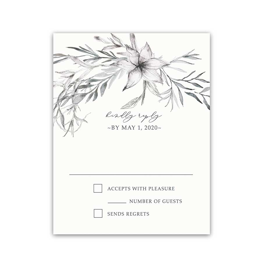 Modern Personalized Wedding RSVP Cards Sketched Greenery