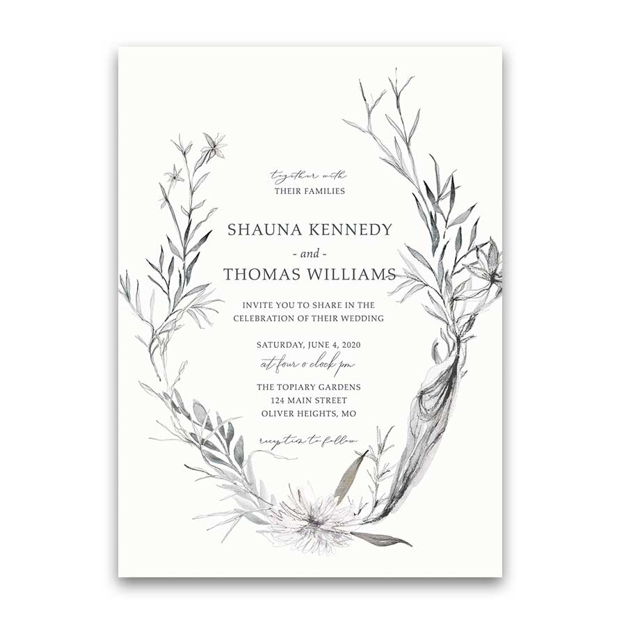 Personalized Wedding Invitation Hand Drawn Greenery
