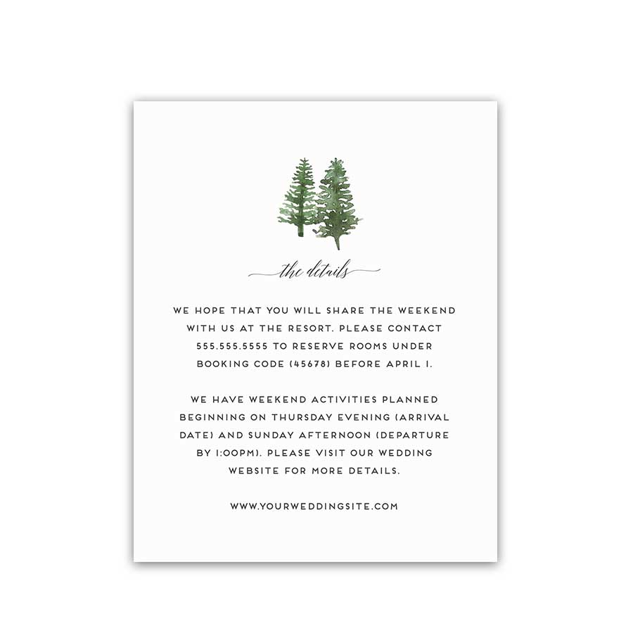 Mountain Wedding Information and Event Details Insert Card