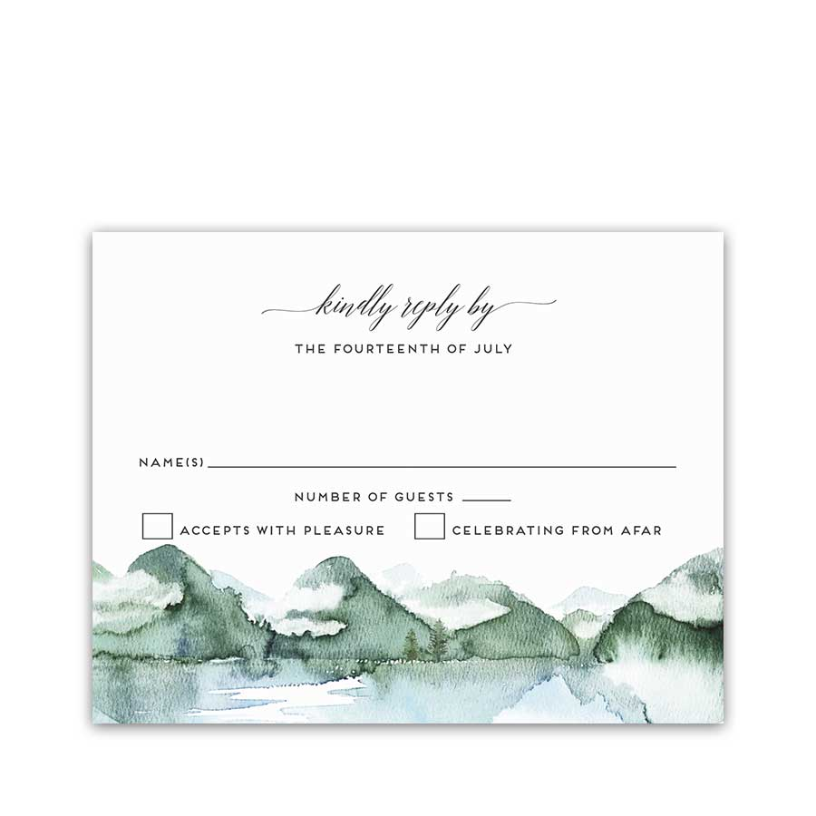 Mountain Wedding RSVP Template Watercolor Forest Lake