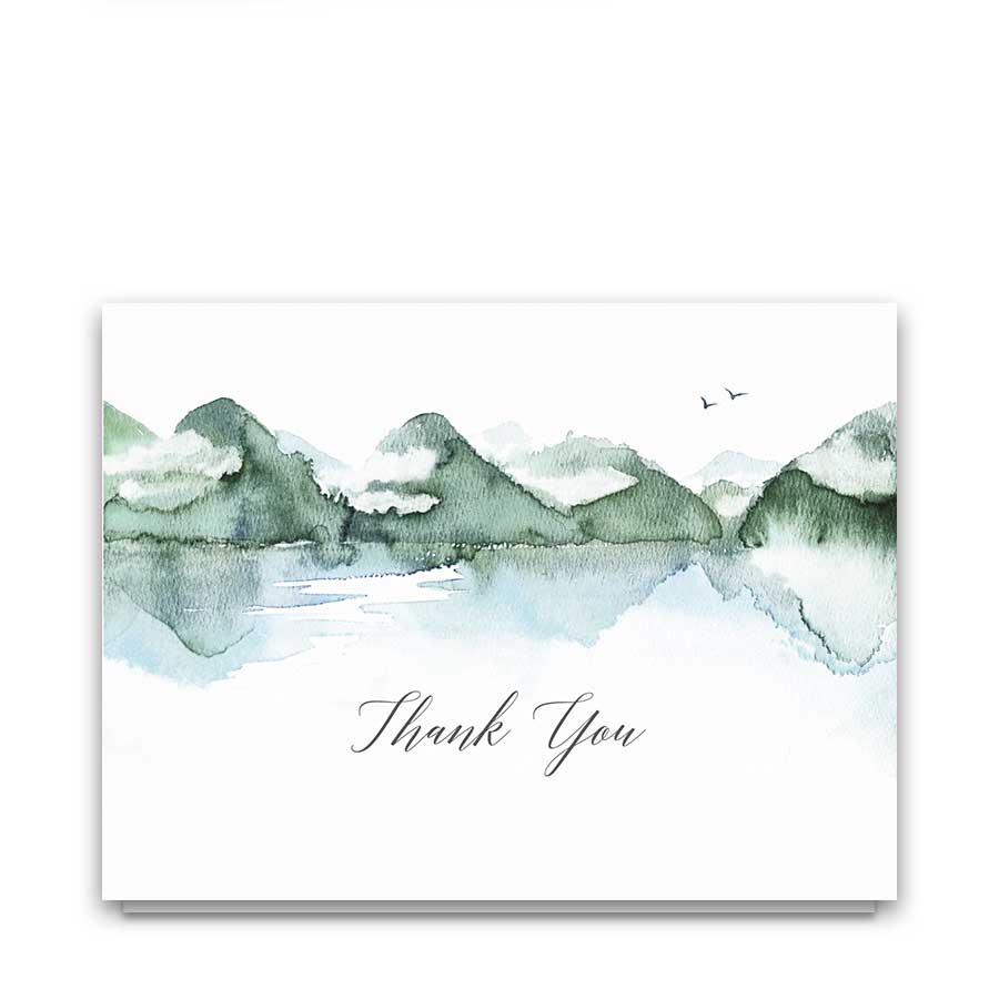 Mountain Thank You Cards Watercolor Forest Lake Scene