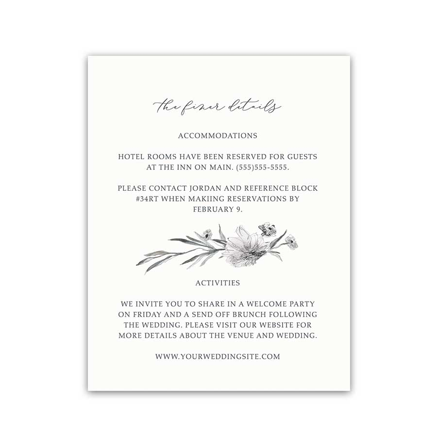 Personalized Wedding Additional Information Cards Sketched Floral