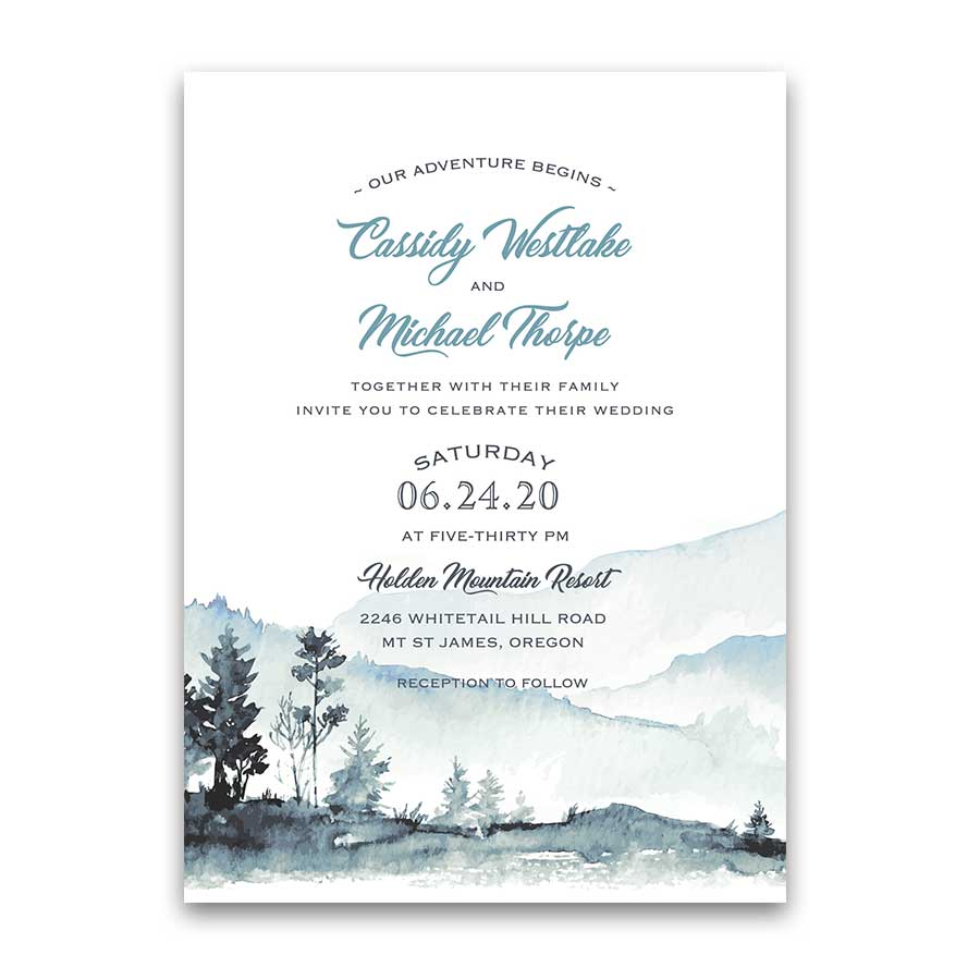 Wedding Invitation Template.Mountain Wedding Invitation Template Watercolor Forest Modern