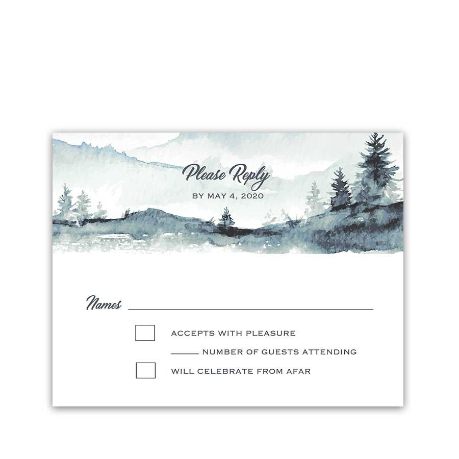 Mountain Forest Wedding RSVP Card Watercolor Pale Blue