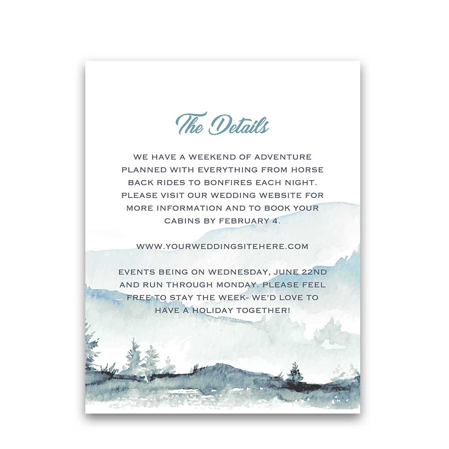 Forest Tree Wedding Details Insert Card Mountain Theme