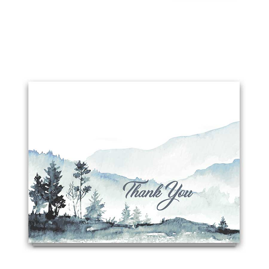 Mountain Wedding Thank You Cards Watercolor Forest Scene
